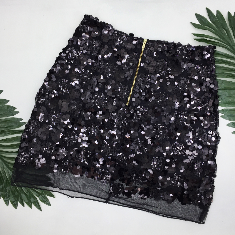Gold Black Sliver Vintage High Waist A-line Mini Sequin Skirt