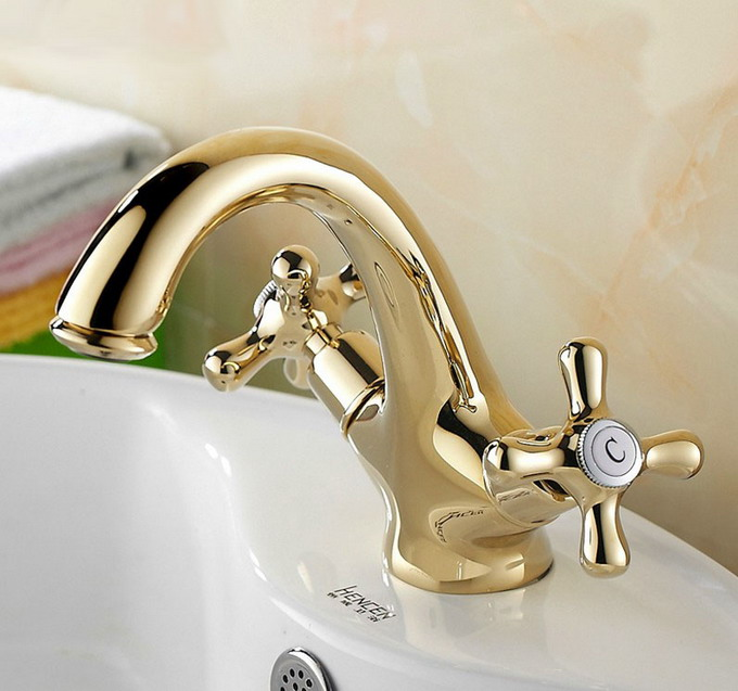 Polished Gold Color Brass Dual Cross Handle Bathroom Faucet Sink Basin Mixer Tap anf172Polished Gold Color Brass Dual Cross Handle Bathroom Faucet Sink Basin Mixer Tap anf172