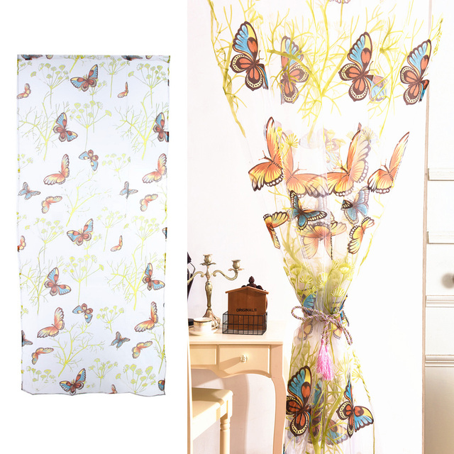 Top Romantic Butterfly Curtains Tulle Window Curtain For Living Room  Bedroom Kitchen Curtains Printed Sheer Voile