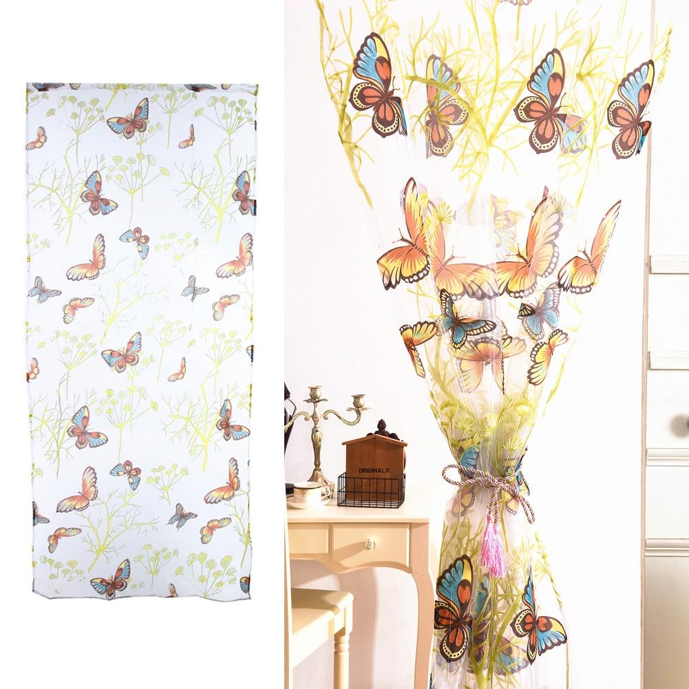 Top Romantique Papillon Rideaux Tulle Fenetre Rideau Pour Salon