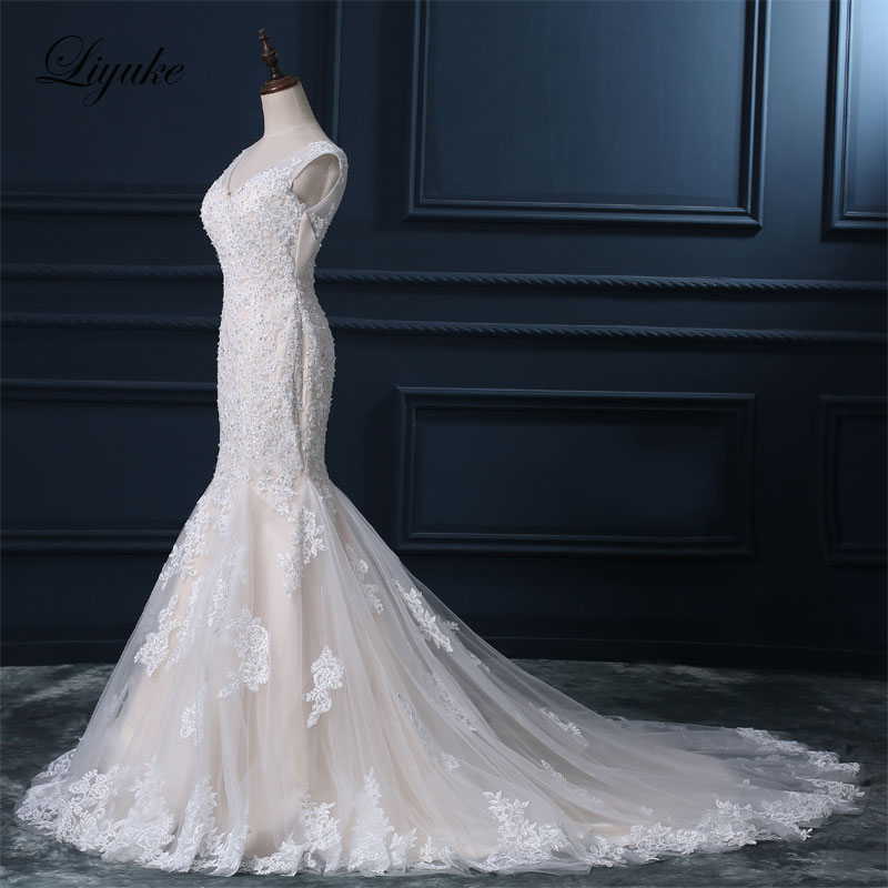 Liyuke Κομψό Σατέν Τούλι Γλυκιά Φόρεμα - Γαμήλια φορέματα - Φωτογραφία 2