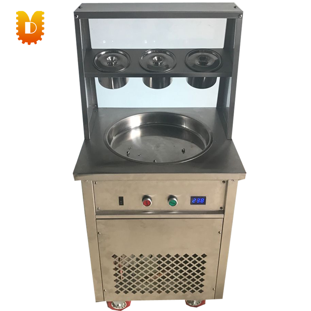 single square pan single round pan fried ice machine chinese single round pan rolled ice cream machine fried ice cream roll machine with 6 barrels