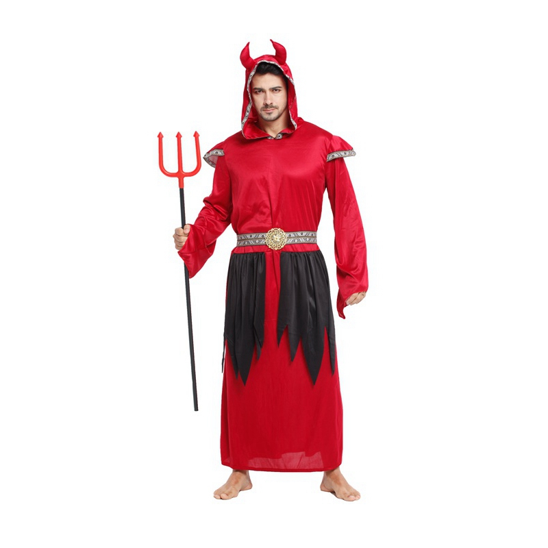 Adult Men Red Devil Satan Demon Costume Halloween Purim Party Carnival Masquerade Cosplay Outfit