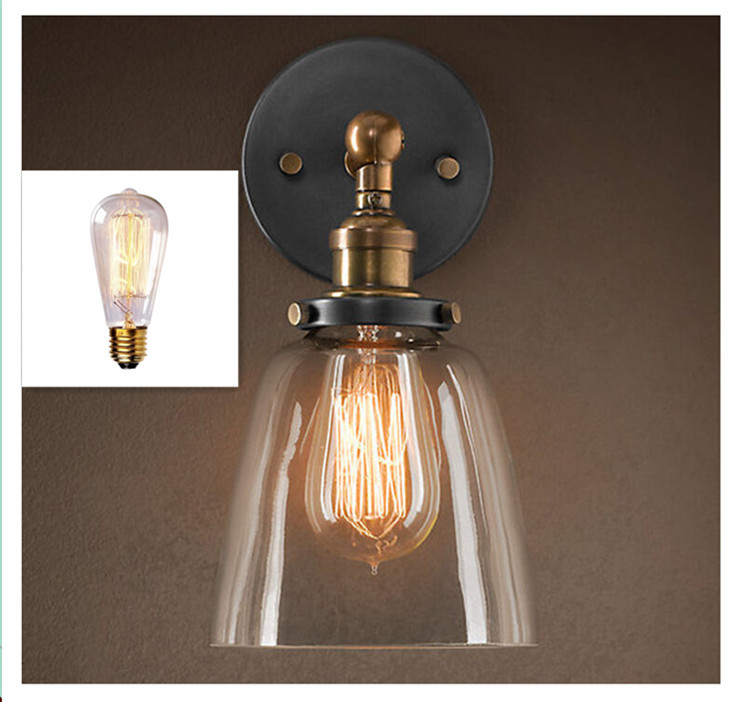 Modern Vintage Industrial Wall Lamp Sconce Light Glass Clock Wall Lighting Lamp Elegant Home Decoration+1*E27 60W Bulb