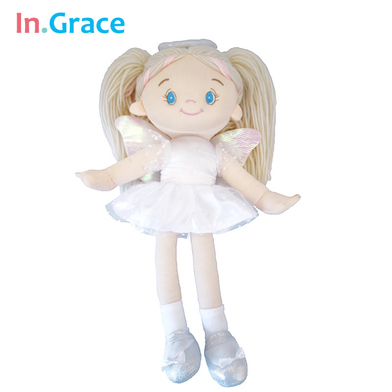 In.Grace nwe ballerina doll white ANGEL dolls with shining wings stuffed cloth dolls for girls best gifts 14 inch high quality