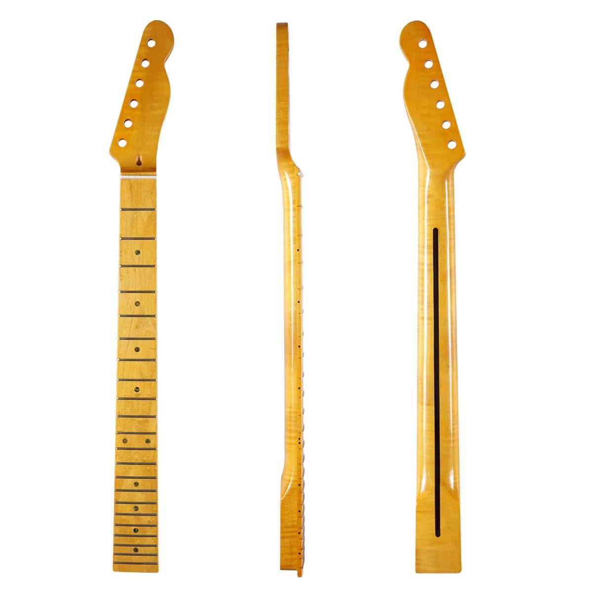 KAISH 22 Fret Brilhante Canadense Tiger Flame bege Guitarra Tele Pescoço com Abalone Shell Inlay e Porca de Osso para Telecaster