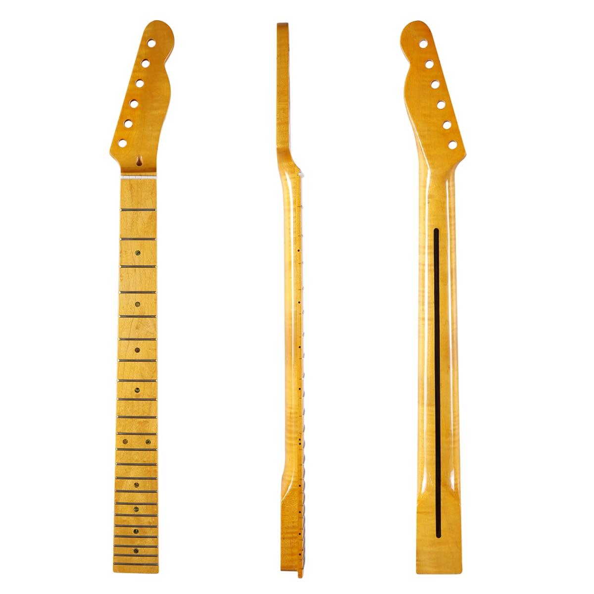 KAISH 22 frette brillant canadien tigre flamme érable télé guitare cou avec incrustation de coquille d'ormeau et écrou d'os pour Telecaster