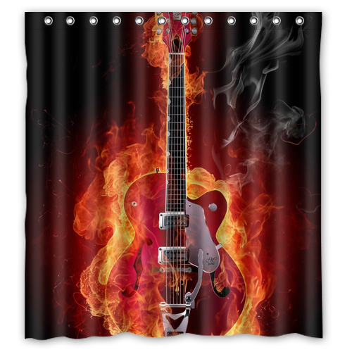 Custom A Guitar In Flames Rock Music Unique Curtain Bathroom Bath Waterproof Shower Size 48x7260x7266x72 Inches
