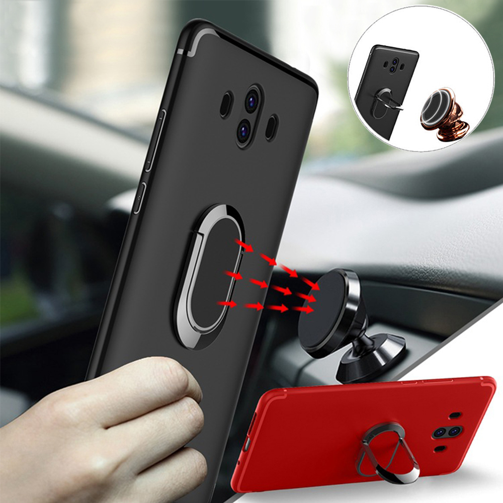 Mobile <font><b>Phone</b></font> Cases Soft TPU Case with <font><b>360</b></font> Degree Rotation Ring <font><b>Holder</b></font> Metal Sheet Fitted Cases for Huawei Mate 10 Back Cover