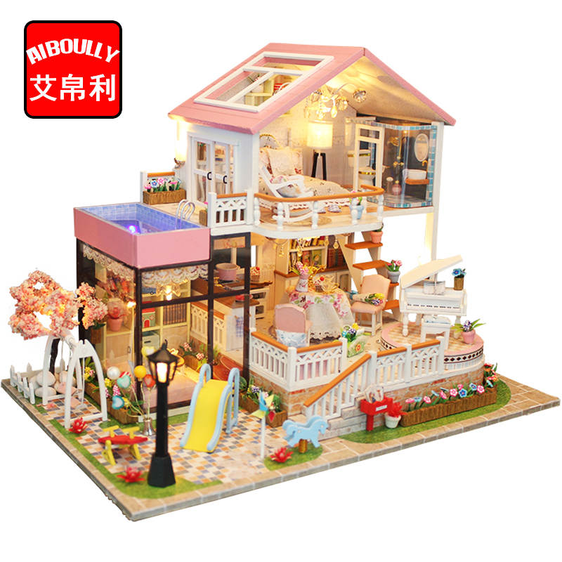 AIBOULLY DIY Doll House Wooden Miniature Furniture Kit Box Puzzle Assemble Sweet Word Dollhouse Toys For Children Kid gifts H030 смартфон samsung galaxy s6 edge 32gb gold platinum sm g925fzdaser android 5 0 exynos 7420 2100mhz 5 1 2560х1440 3072mb 32gb 4g lte 3g edge hsdpa hsupa [sm g925fzdaser]