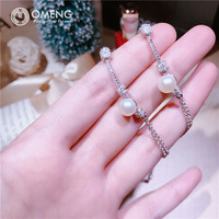 OMENG Knotted Bracelet S925 Sterling Silver Micro Single Natural Pearl Fashion Jewelry Female OSL033