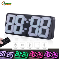 3D Wireless Remote Control Digital Alarm Clock Display Time Date Temperature In 115 Colors changing Digital Clock For Home Decor