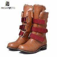 Prova Perfetto/зимние женские сапоги, повседневная женская обувь, ботинки martin, женские сапоги из натуральной кожи, сапоги средней высоты, зимние са