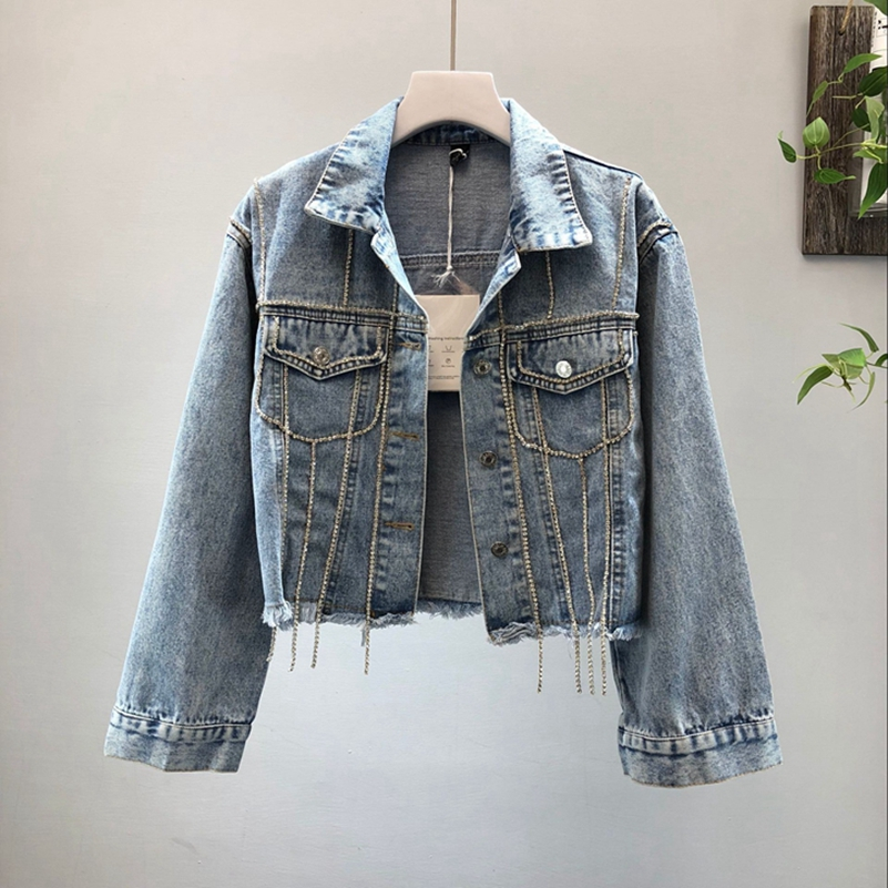SexeMara fashion The New Slim tassel Rhinestone Short paragraph Washing water Burr Denim jacket Free shipping