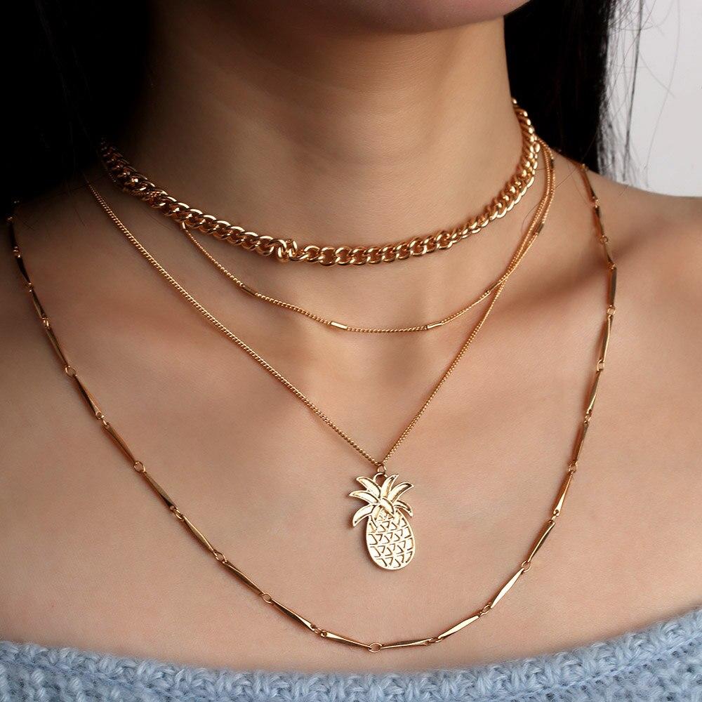 4pcs//set Jewelry Women Necklace Choker Chain Multi Layer Pineapple Pendant