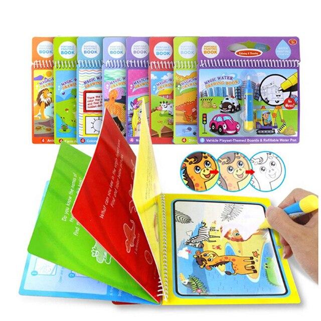 1 Juego de juguetes libro de dibujo de agua mágica Regalo de Cumpleaños libro de colorear Montessori Doodle y pluma mágica pintura tablero de dibujo para los niños