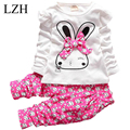 LZH Children's Clothing 2017 Spring Autumn Cartoon Baby Girls Clothes Set Kids Rabbit Bowknot Long-Sleeved T-shirt+Pants Outfit