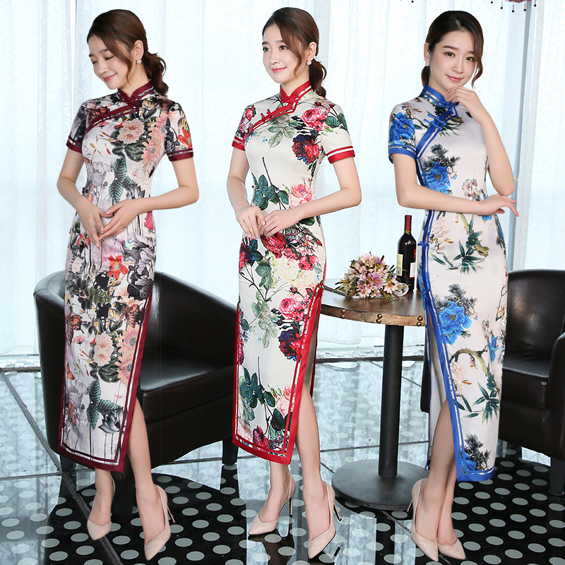3 Color Print Women Cheongsam Dress Lady Elegance Long Chinese Traditional Dress Short Sleeve Chinese Ancient Qipao Costume 89