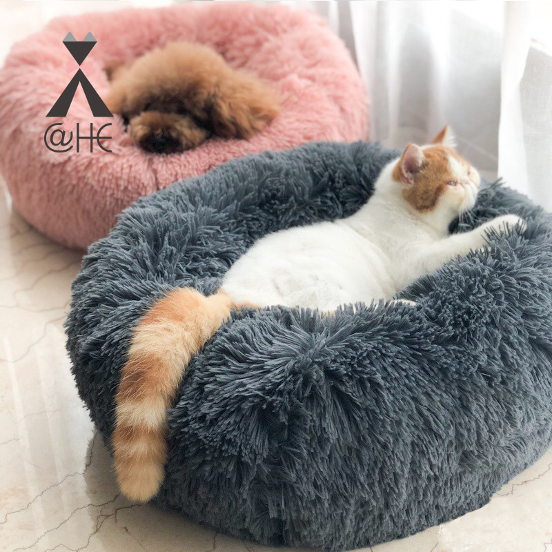 @HE Soft Long Plush Pet Dog Cat Beds House Winter Warm For Cats Dogs Puppy Deep Sleeping Nest Teddy Chihuahua