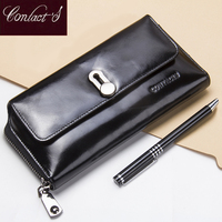 2018 Fashion Genuine Leather Wallet Female Big Capacity Money Bags Wallets For Ladies Long Card Purses Holder With Coin Pocket