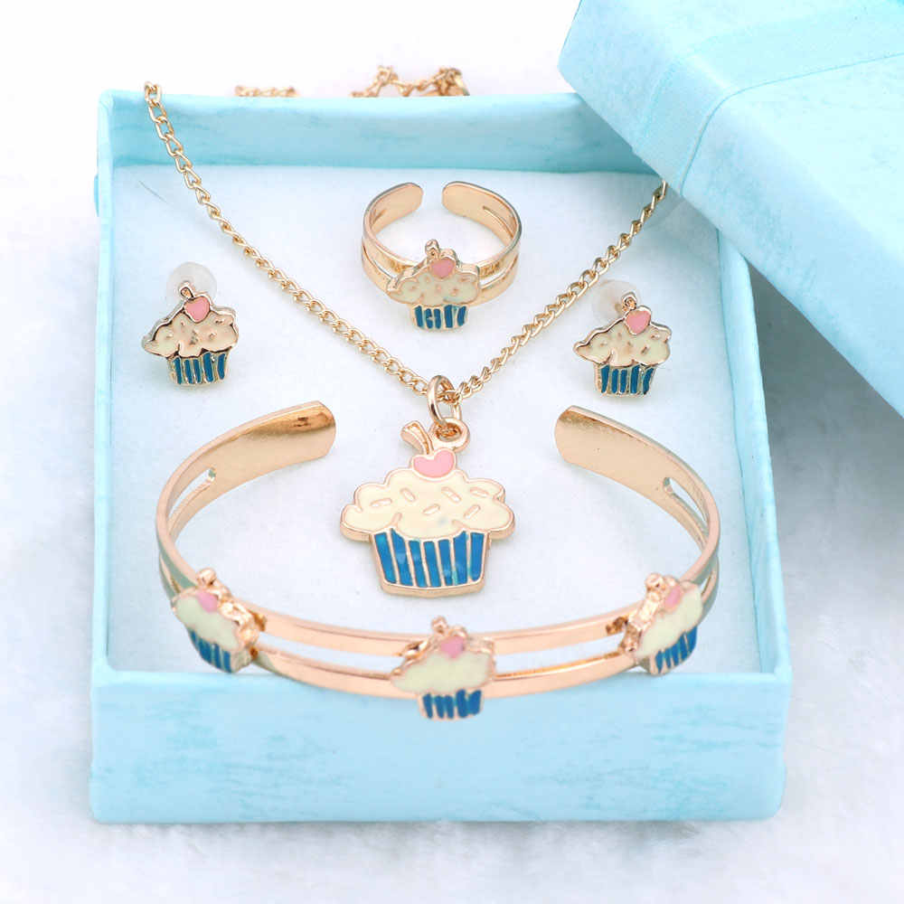 Fashion Girl Jewelry Lovely Crystal Ice-cream Children Necklace Bangle Earring Ring Kids Baby Costume Jewelry Set And Boxes