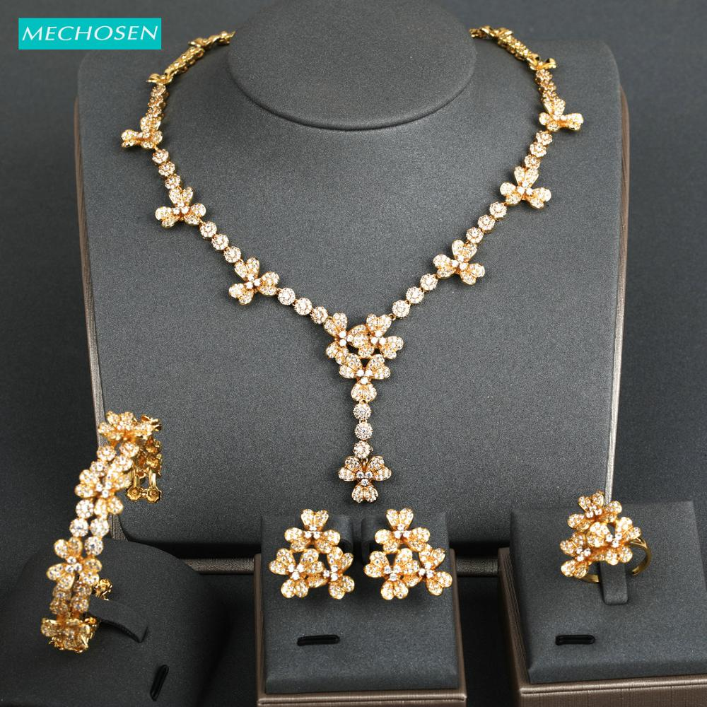 MECHOSEN Luxury Elegant Gold Color Jewelry Sets Flower Zircon Copper Bangle Earrings Ring Bangle Set For Bride Wedding Best Gift