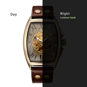 Image 5 - Shenhua 2019 Vintage automatyczny zegarek mężczyźni mechaniczne zegarki na rękę mężczyzna mody szkielet Retro brązowy zegarek zegar montre homme