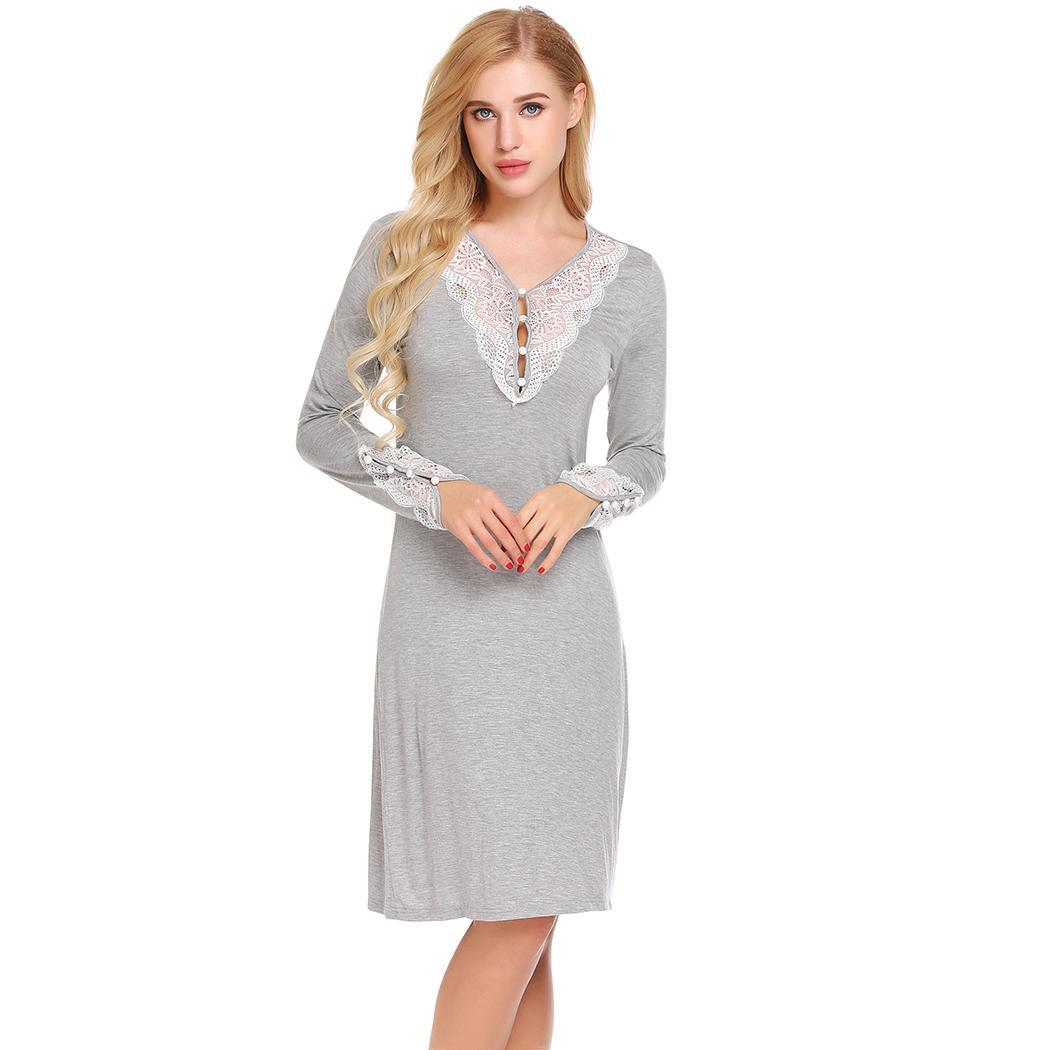 Ekouaer Night Dress Soft   Sleepshirts   V-Neck Long Side Slit Lace Patchwork Women Loose Pregnent Sleep Dress   Nightgowns