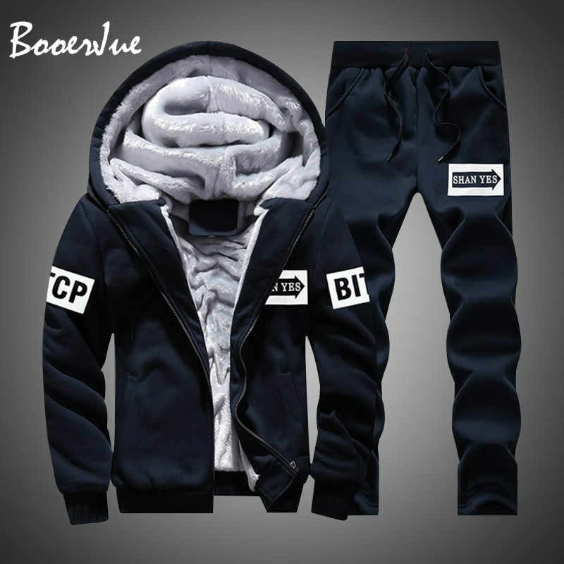 Casual Men Tracksuit Winter Two Pieces Sets Fleece Thick Hooded Zipper Jacket + Pants Warm 2 PCS Sporting Suit Sportswears M-4XL