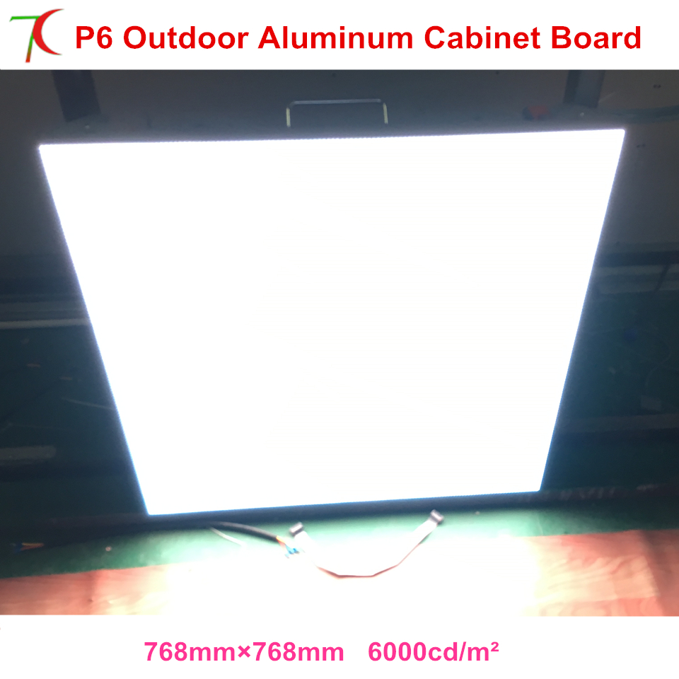 Outdoor high brightness P6 waterproof 768*768mm aluminium cabinet led display for rental business,6000cd