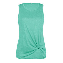Spring Summer T-Shirts Women Vests 2019 New Casual Sleeveless T-shirt Beach Cross Tie Twisted Top Blue Green Tshirt Sexy Clothes(China)