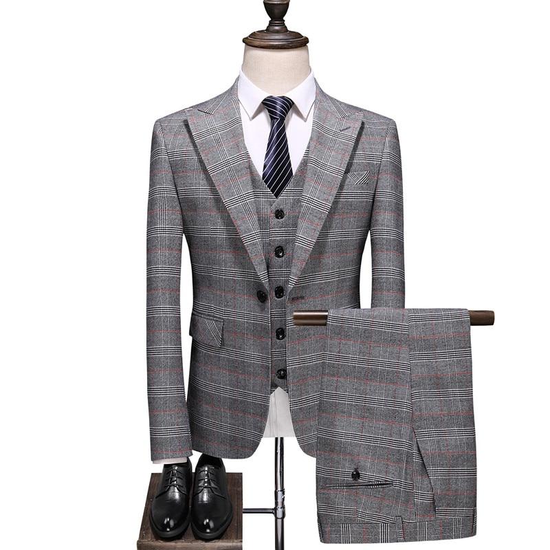 Men's Light Gray Check Suit Men's Classic Formal Business Suit Wedding Banquet Men's Suit Three-piece Jacket  Pants  Vest