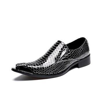 Summer men's shoes brand handmade men loafers men fashion leather business  shoes Sequins steel-toe men's flats office shoes