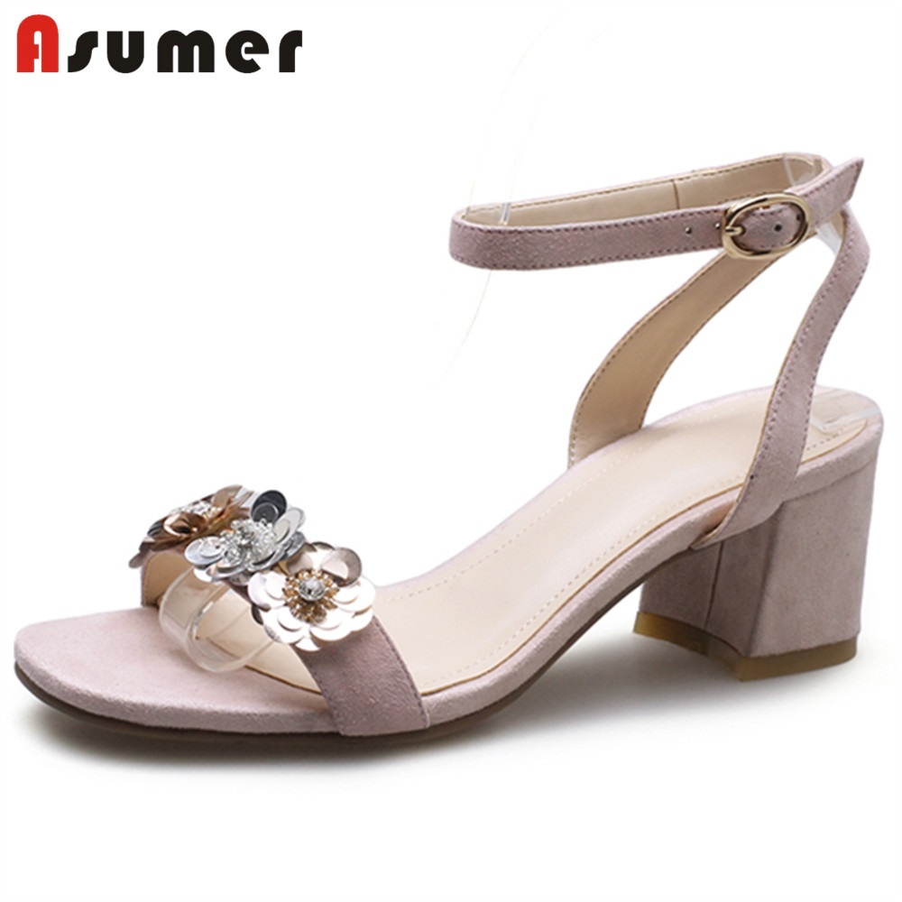 ASUMER Sandals Shoes Flower Square Toe High-Heels Genuine-Leather Women 33-40