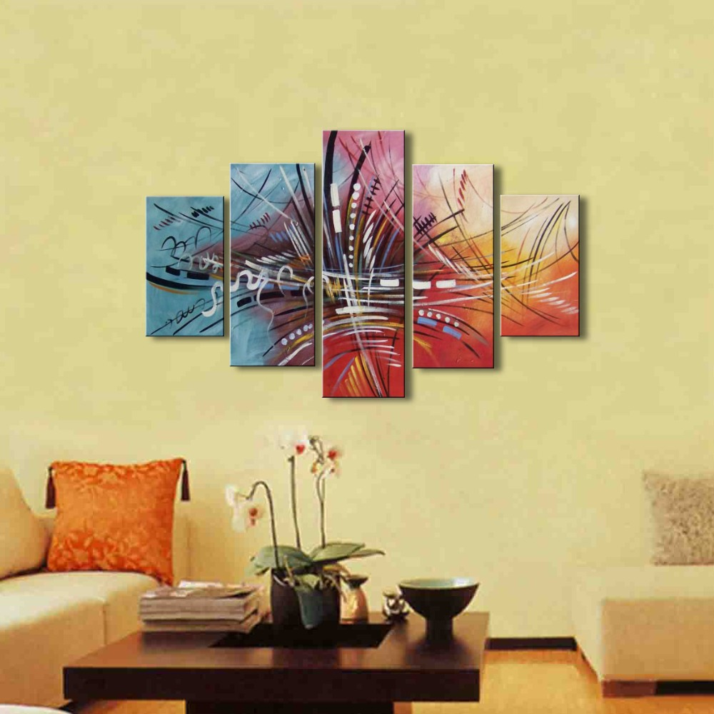 5 Panel Canvas Art Colorful Oil Painting Modern Abstract Graffiti ...