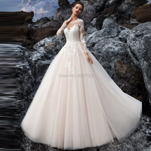 Ball Gown Wedding Dresses Lace Appliques Long Sleeves Scoop Button Sweep Train Illusion Wedding Bridal Gown Vestido De Noiva