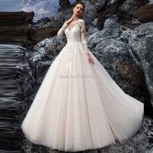 Vestido De fiesta vestidos De novia con apliques De encaje De manga larga botón redondo De barrido tren ilusión Vestido De novia boda Vestido De Noiva