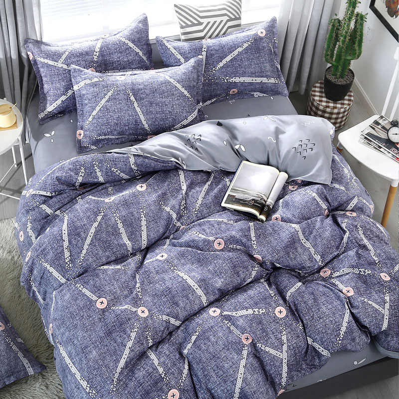 Modern Stripe Winter Bedding Sets Full King Twin Queen King Size 4Pcs Bed Sheet Duvet Cover Set Pillowcase Without Comforter