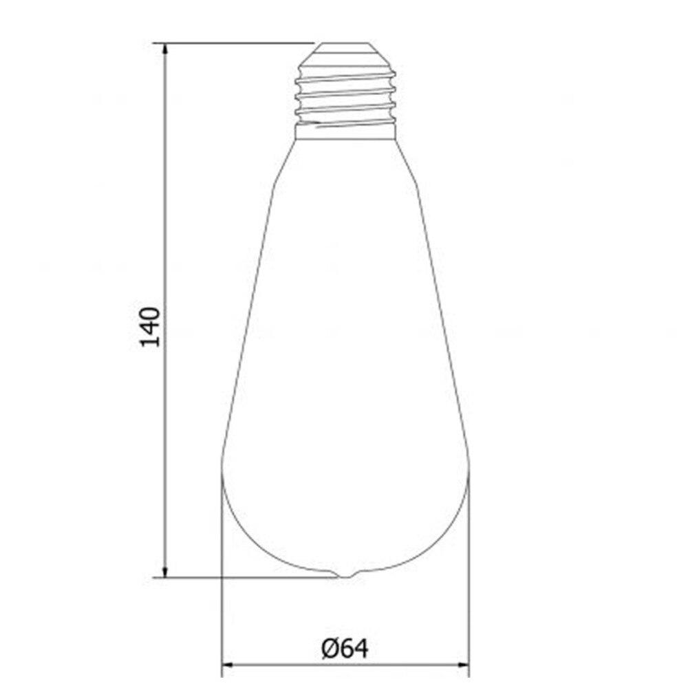 Купить с кэшбэком Ganriland ST64 Retro Edison Spiral Led Light Bulb E26 110V Lamps 3W E27 Filament Amber Glass 2200k Dimmable Decortive Globe Bulb