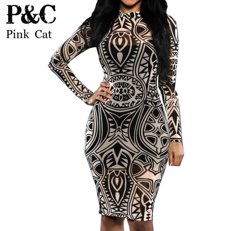b8197277f0d XXXL Plus Size Sexy women Tribal tattoo sheer print mesh party dress women  evening club dress