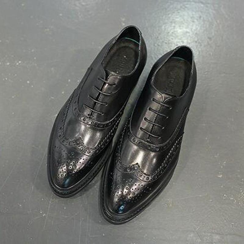 Vaca Brogue Primavera Tamanho Vestido Dos Oxfords Black Britânico 43 Xingdeng Sapatos Negócios Camurça Couro Apontado 38 Dedo De Homens AqH7wB