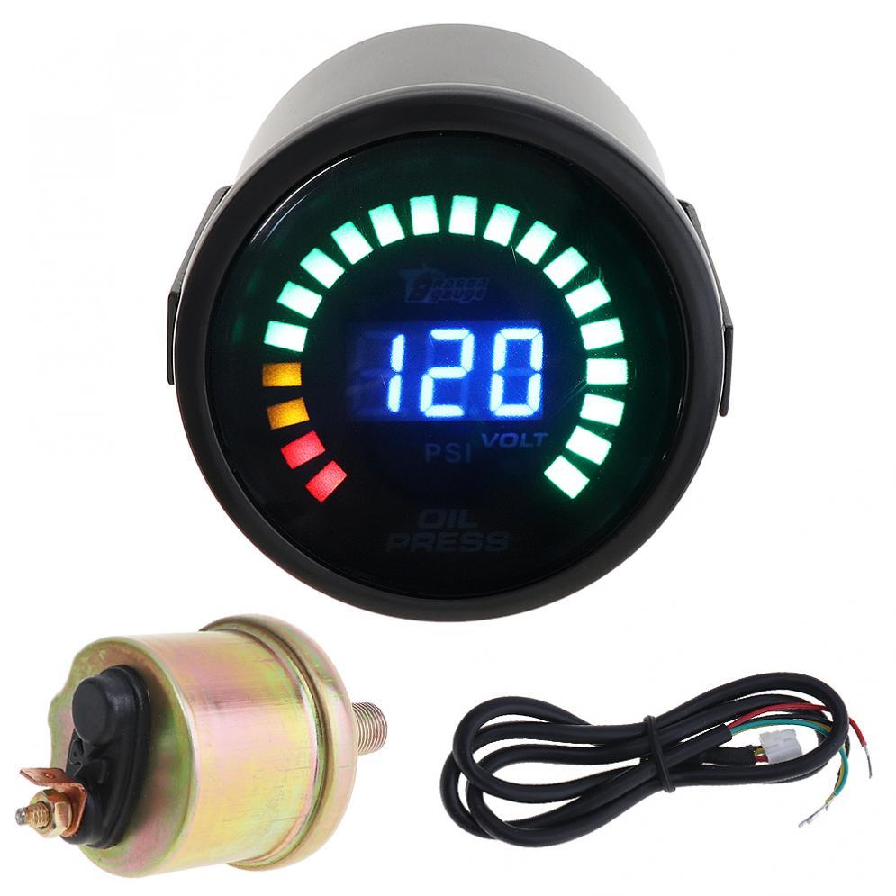 2 52MM Durable 12V 0~120PSI Colorful LED Digital Car Oil Press Pressure PSI Gauge with Oil Pressure Sensor