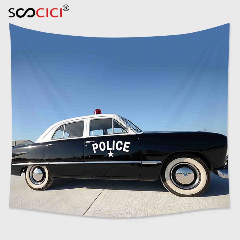 Charitable Cutom Tapestry Wall Hanging,american Side View Of A Parked Old American Police Car And The Sky Digital Print Blue Beige