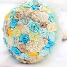 Ocean Beach theme Shells starfish pearl wedding brooch bouquet Bridal Bride Bouquets handmade diamond Holding Flowers