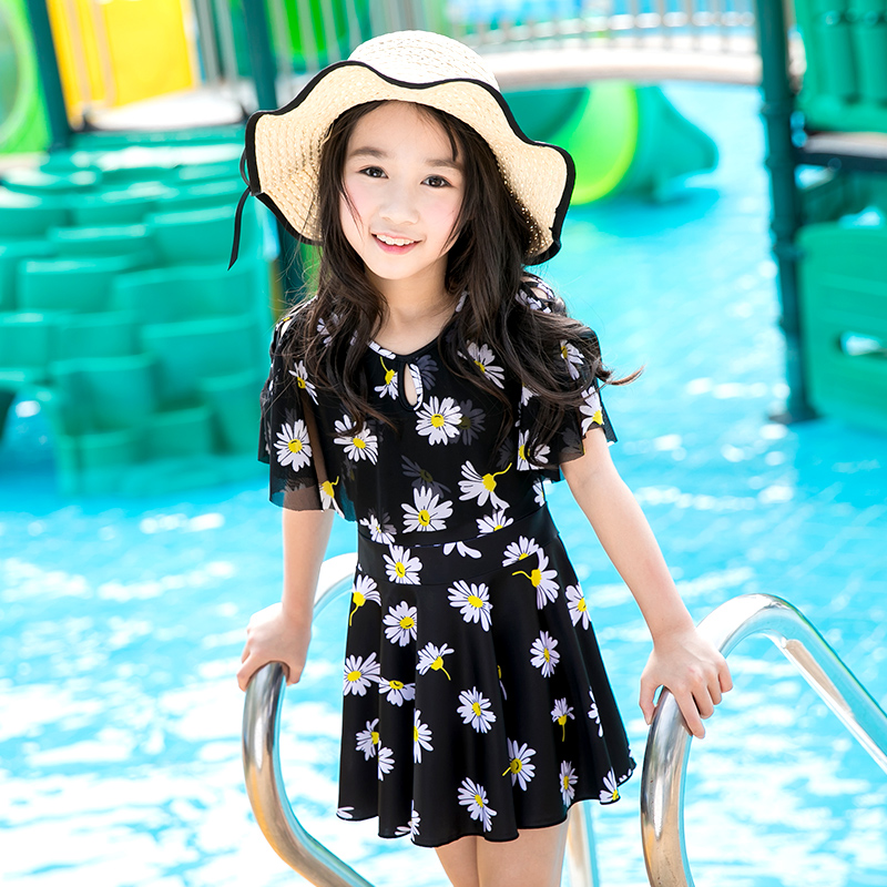 Beach sports child Swim Swimsuit girl one-piece swimsuit Skirt style Big child lovely swimsuit student Hot spring swimsuit print beach sports swim woman swimsuit skirt style one piece swimsuit small chest gather together swimwear large size hot spring