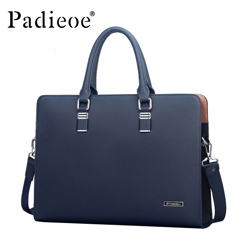 Padieoe Luxury Brand Genuine Real Cow Leather Messenger Bags Business Men Briefcases Handbags Men Totes Casual Male Bag Shoulder padieoe men s genuine leather briefcase famous brand business cowhide leather men messenger bag casual handbags shoulder bags