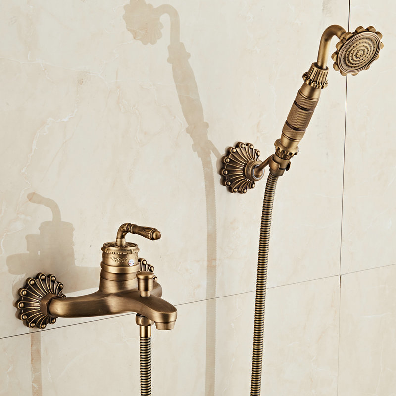 Antique Brushed Brass Bath Faucets Wall Mounted Bathroom Basin Mixer Tap Crane With Hand Shower Head Bath & Shower Faucet