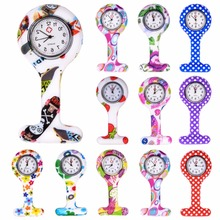 Fashion Colorful Silicone Medical Nurse Watches Portable Brooch Fob Pocket Quartz Watch Hanging Pendant with Clip Gift