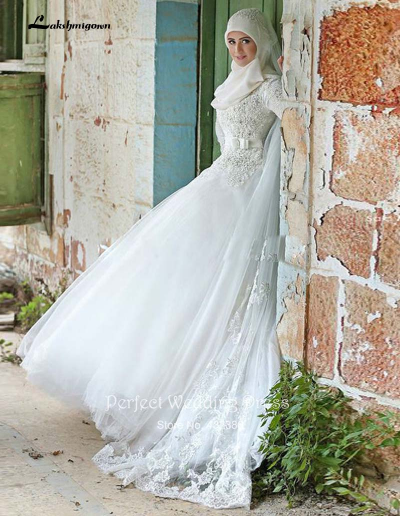 2016 new muslim wedding dress noble white ivory applique for Modern long sleeve wedding dresses