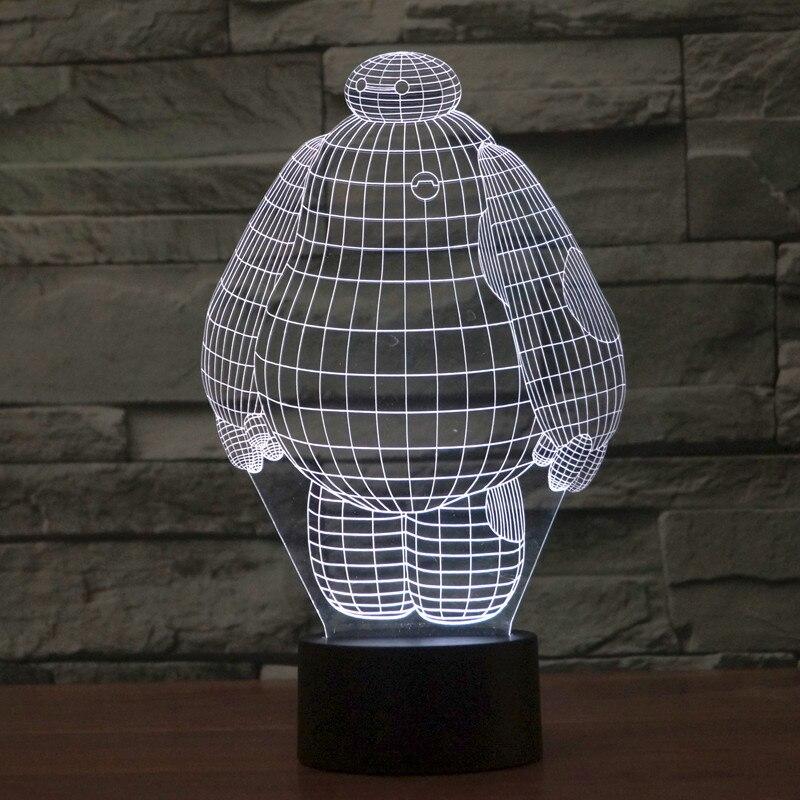 2016 Baymax 3D Lamp Big Hero Baby Night Light USB Lava Lamp Touch Nightlight Table Led Lamp Desk Light